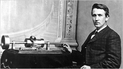 Edison at his phonograph